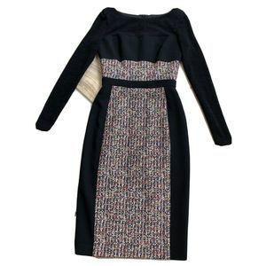 Black Halo Tweed Mixed Fabric Sheath Dress 0